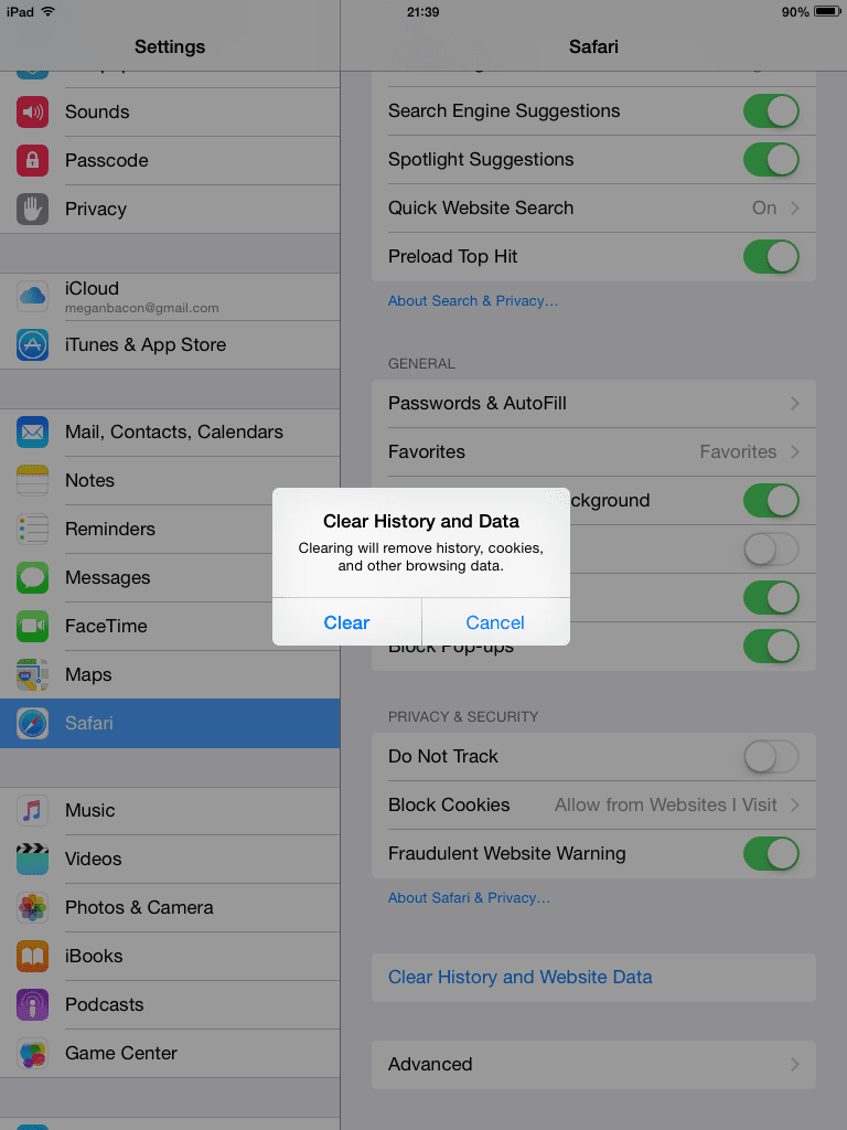 Clear history and data on iPhone