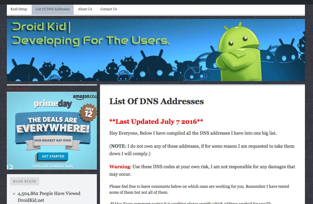 DroidKid list of DNS servers