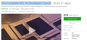 Udemy iPhone app writing course