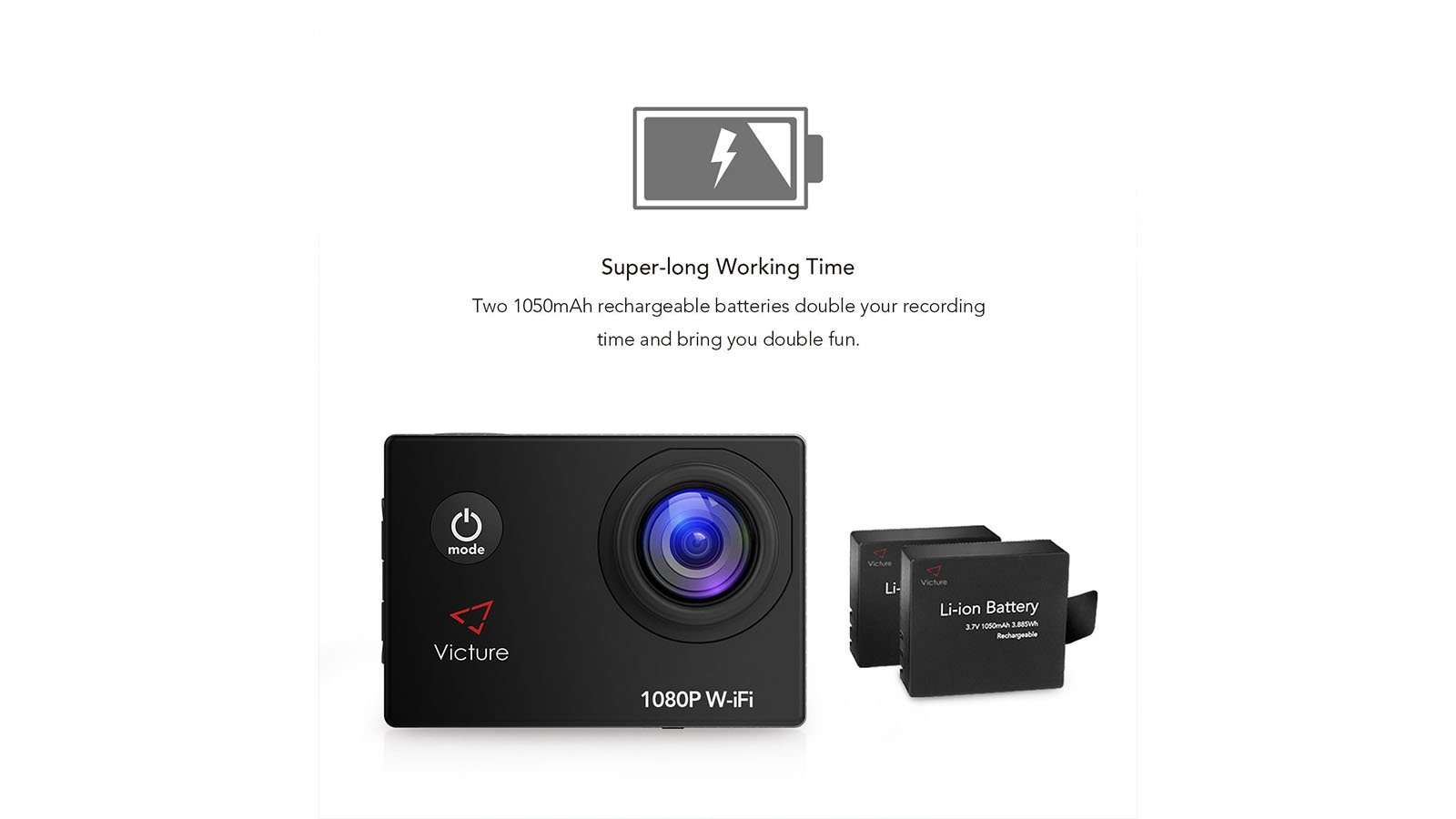 Victure Sports Action Camera 14MP review battery
